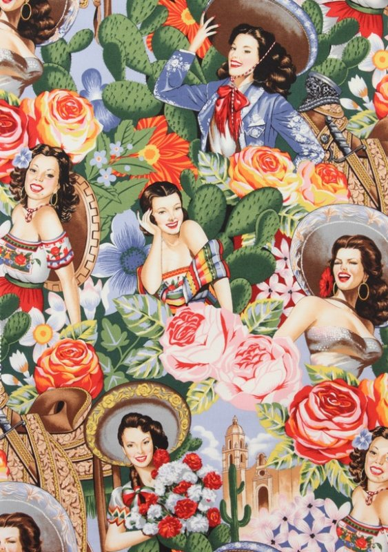 Las Senoritas Alexander Henry Mexican Calendar Girl Mexico Pin Up LAMINATED Cotton Fabric LHD306