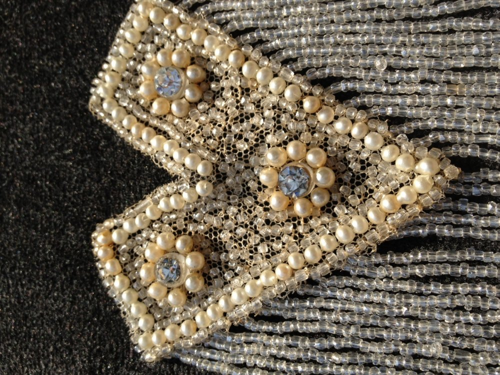 Antique Victorian Hand Beaded Embroidered Applique Ivory Embellishment VTGJ1