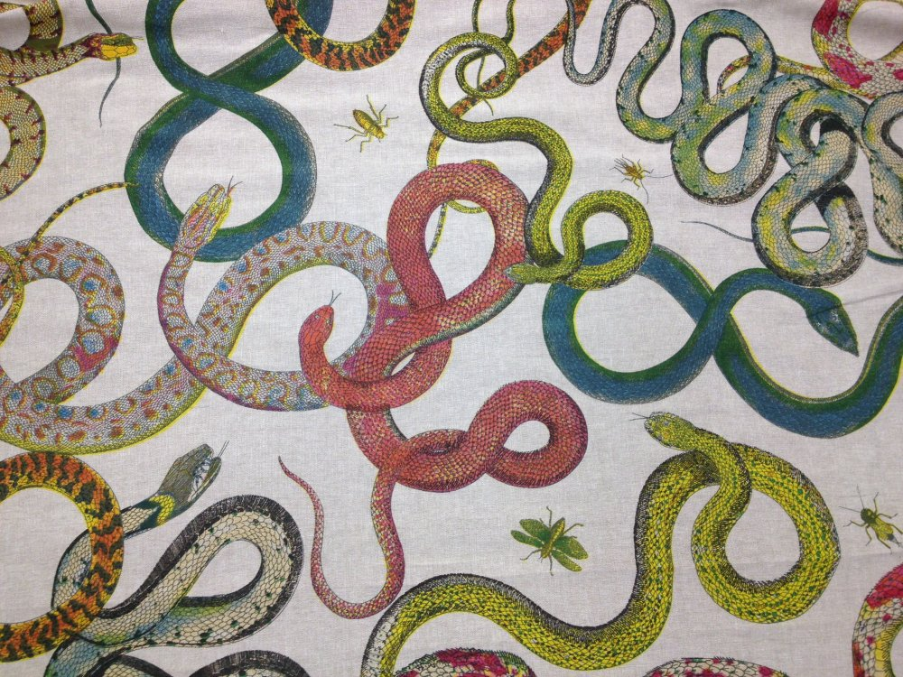 Snakes Vintage Style Reptile Illustration Art Hand Screen Printed Linen Drapery Fabric Upholstery Fabric DLSO511