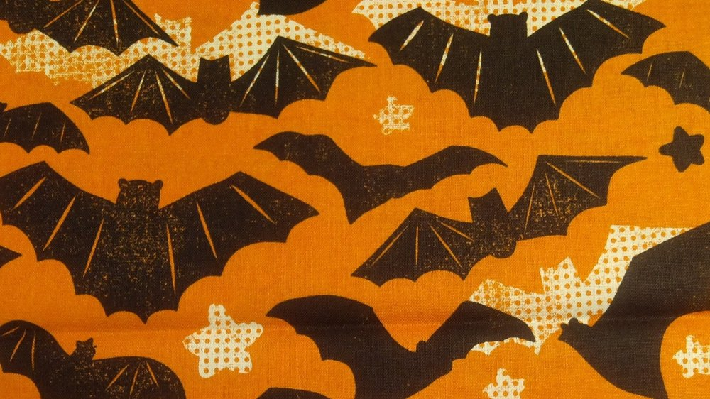 Spooky Bat Retro Style Scary Flying Bats Halloween Maude Asbury Blend Cotton Fabric Quilt Fabric CR498