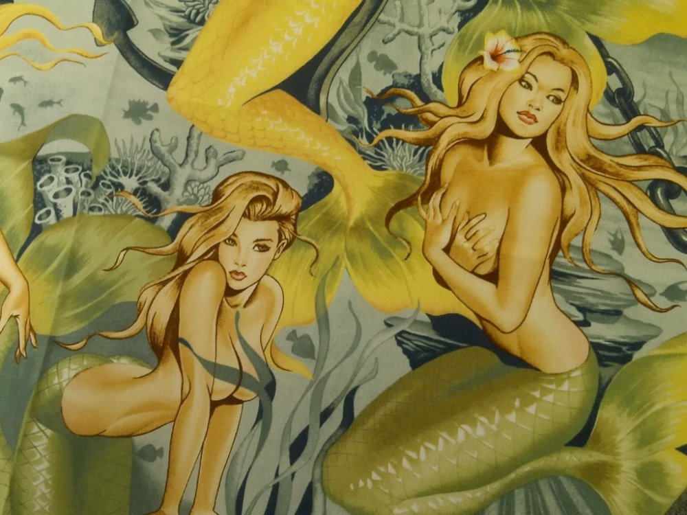 Sexy Pin Up Girls Sea Sirens Mermaid Hot Print Alexander Henry Cotton Fabric Quilt Fabric CR540