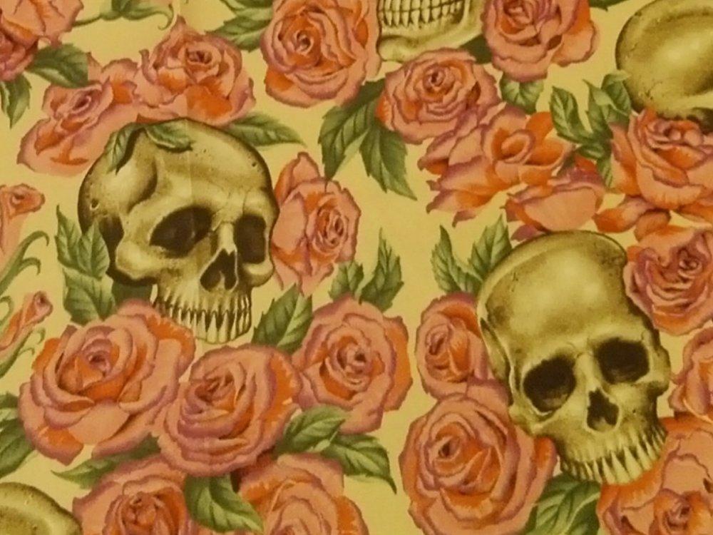 Resting in Roses Grateful Dead Skull Rose Biker Rocker Alexander Henry Cotton Fabric Quilt Fabric CR542