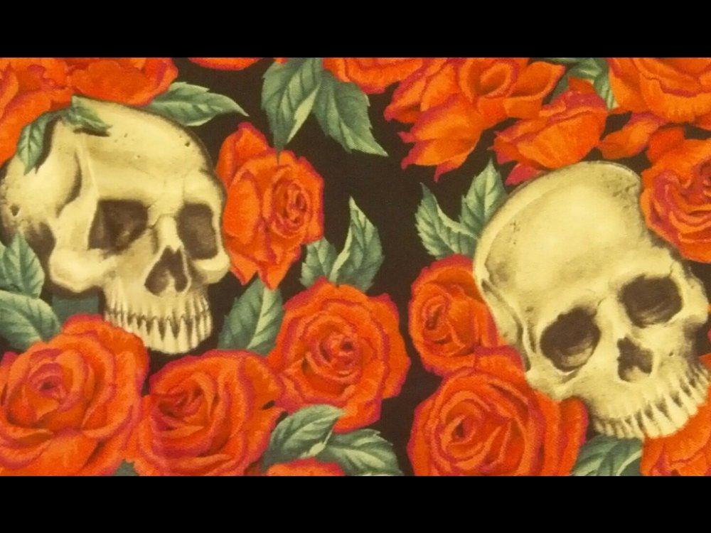 Resting in Roses Grateful Dead Skull Rose Biker Rocker Alexander Henry Cotton Fabric Quilt Fabric CR543