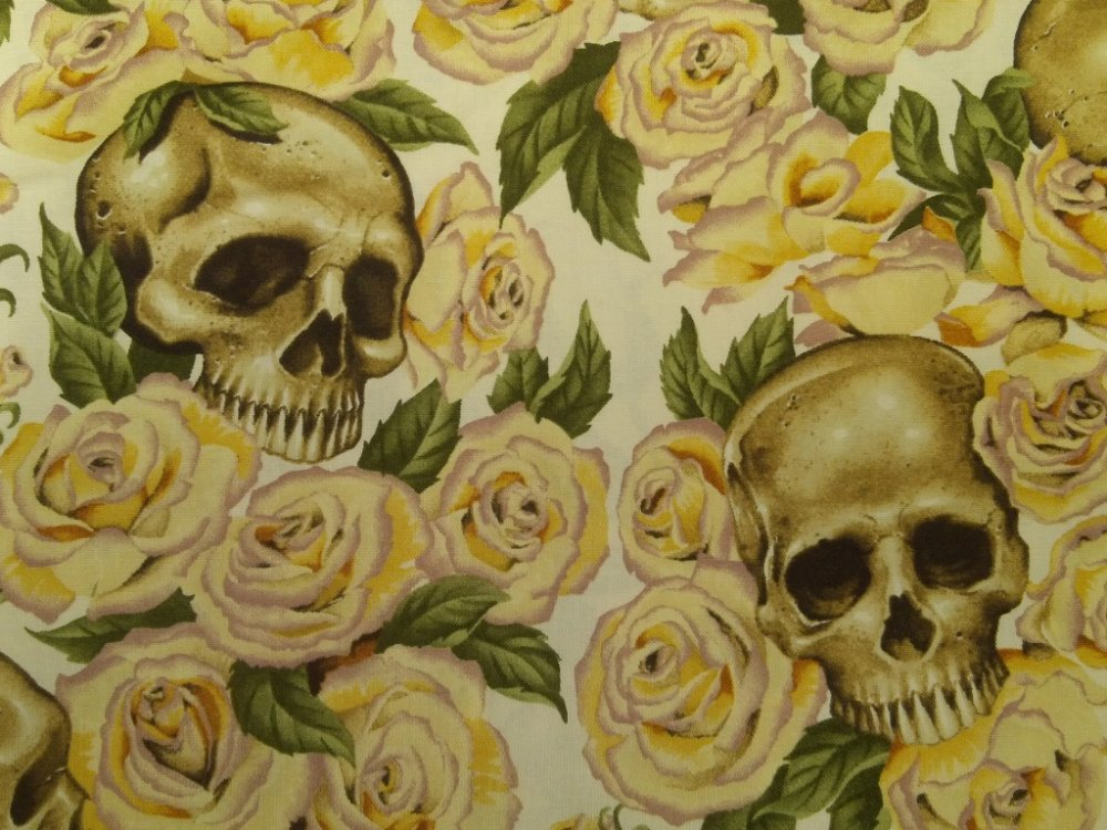 Resting in Roses Grateful Dead Skull Rose Biker Rocker Alexander Henry Cotton Fabric Quilt Fabric CR544