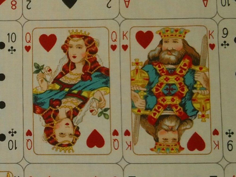 Full Deck Queen Of Hearts Poker Casino Gambling Cards Alexander Henry Cotton Fabric Quilt Fabric Cr545