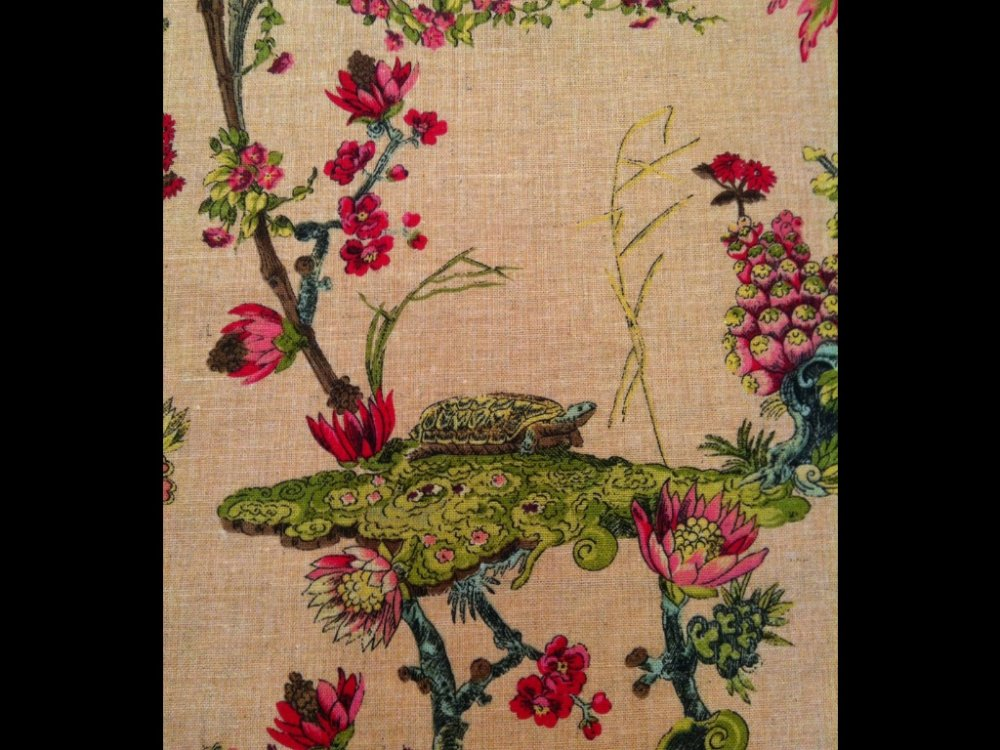 Toile Voyages Toile Asian Turtle Exotic Hand Print Linen Fabric
