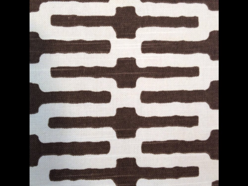 Annie Selke Chocolate Links Tribal Modern Print Linen Fabric Drapery Fabric HD920