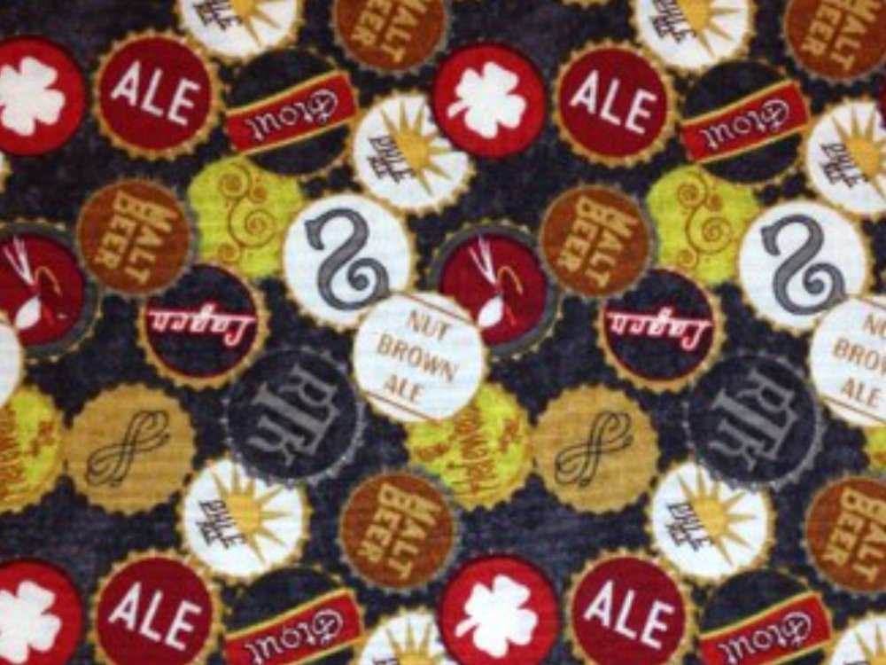 Beer Ale Bottle Caps Man Cave Bar Cotton Fabric Quilt Fabric CR559