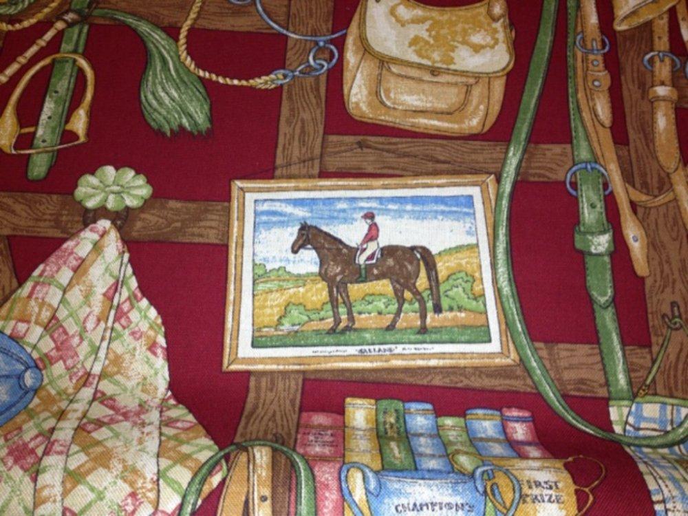 6 YARD BOLT! Hunt Scene English Jockey Club Horse Race Saddle Drapery Fabric Heavy Cotton Fabric Hd101