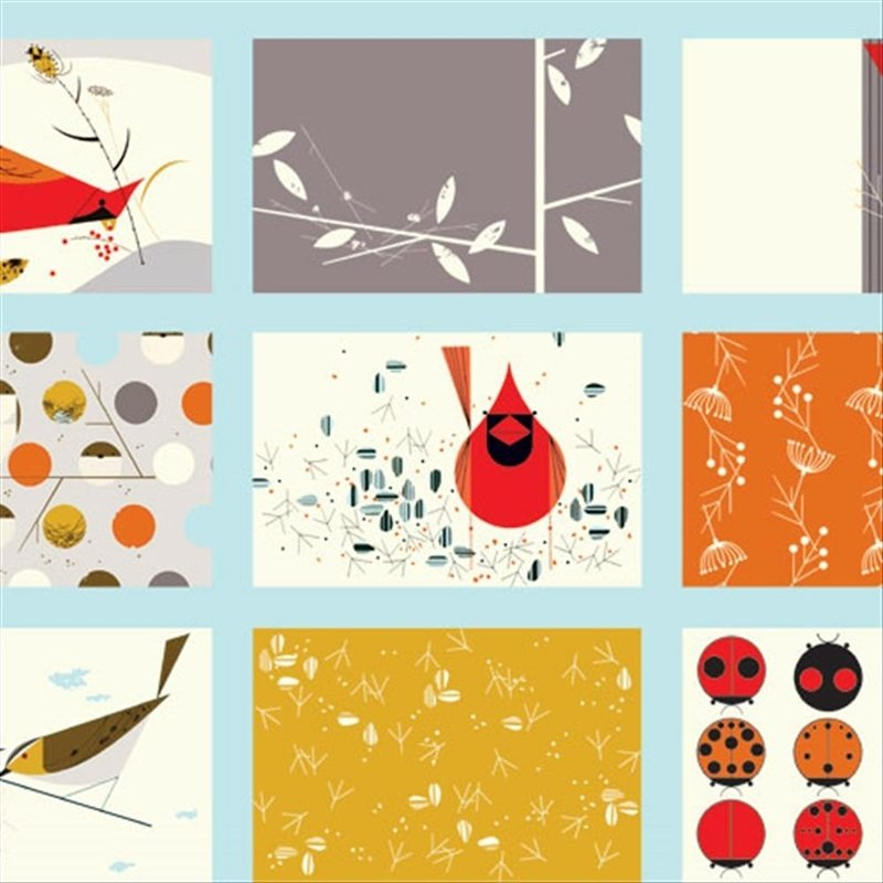 Charley Harper Cardinal Patch Bird Cheater Blocks Ladybugs Mid Century Modern Charles Certified Organic Cotton Fabric Quilt Chb11