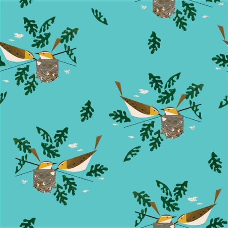 Charley Harper CANVAS Red Eye Vireo Bird Mid Century Modern Charles Harper Certified Organic Cotton Fabric CHB102