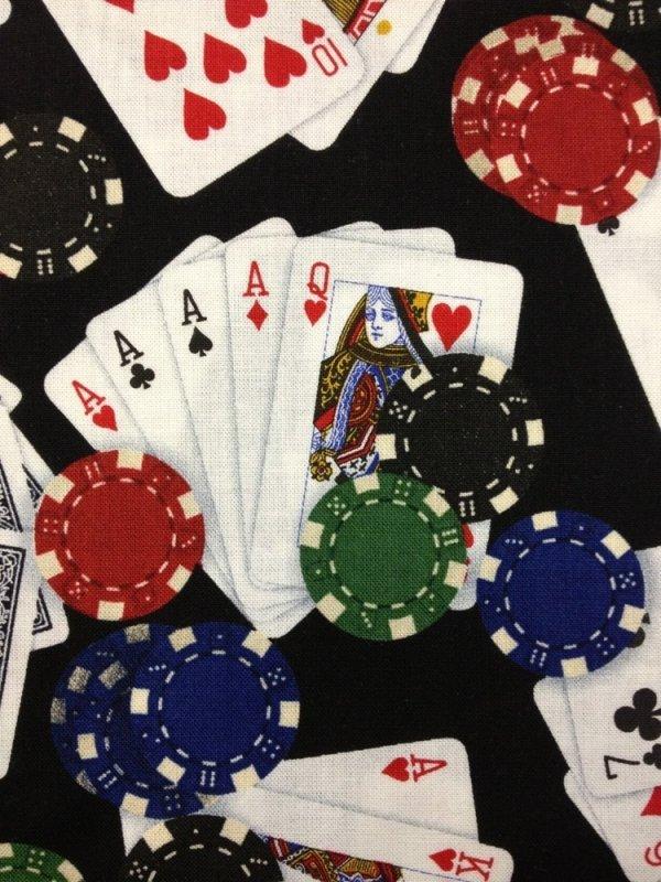 Games of Chance Poker Cards Gambling Chips Las Vegas Casino Cotton Fabric Quilt Fabric Q93