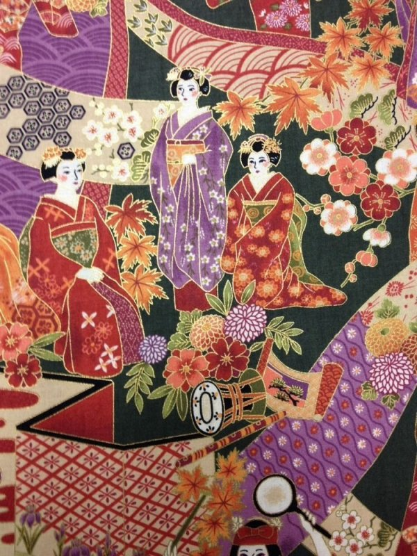 Geisha Promenade Japan Asia Geisha Girls Forest Green Cotton fabric Quilt fabric A15