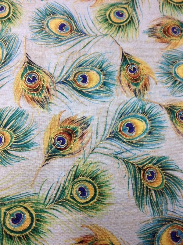 Peacock Feather Plume Metallic Gold Shimmer Feathers Cotton Quilting Fabric CR161