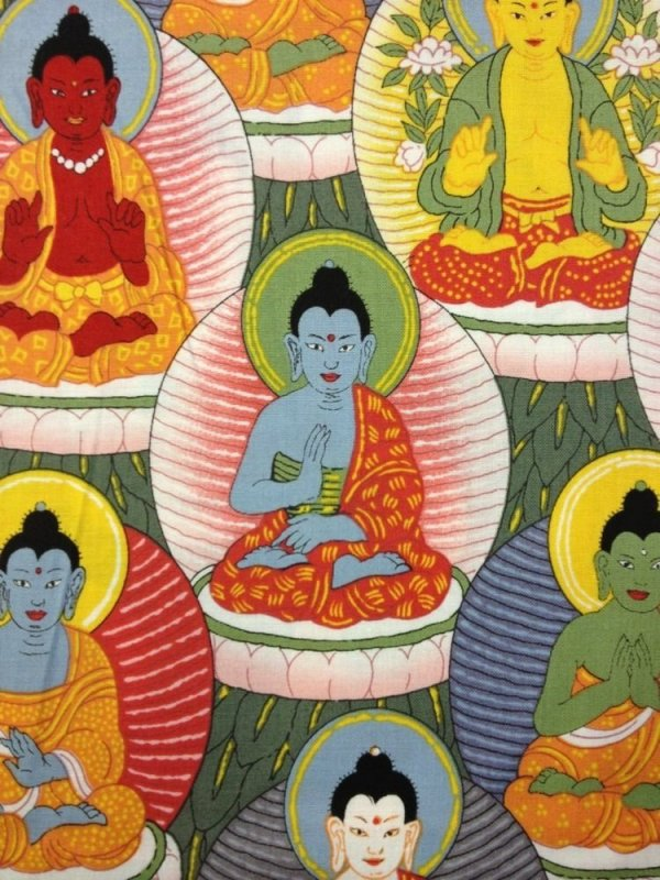 Buddha Zen Asia Alexander Henry Awesome Cotton Fabric Quilting Fabric CR101