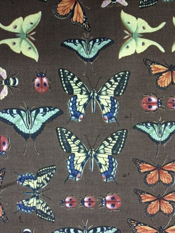 Vintage Nature Cabinet Illustration Butterfly Insect Butterflies Quilt Fabric Cotton Fabric N157