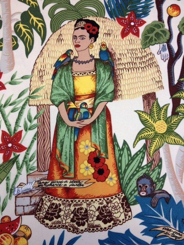 Frida Kahlo Frida's Garden Art Mexico Cream Cotton Fabric Home Dec Weight Ah04