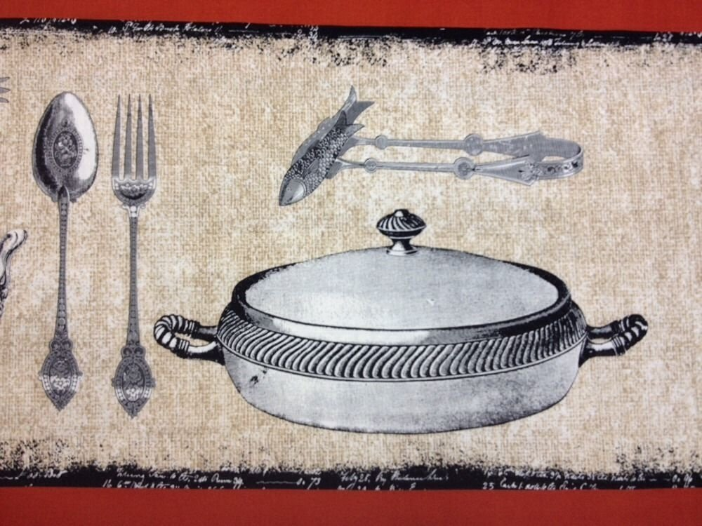 Bon Appetit Table Setting Silver Dinner Platters Kitchen Cooking Chef Serving Cotton Quilt Fabric MM06