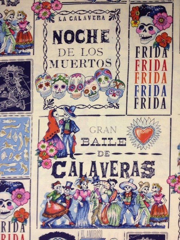 Rare! Out of Print! Alexander Henry Frida Kahlo Baile Calaveras Muertos Mexico Cotton Fabric Quilt Fabric AH09