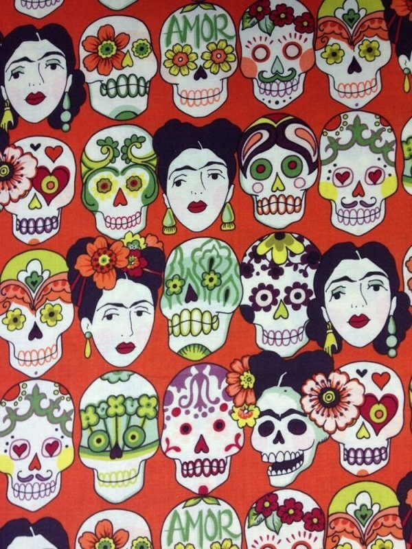Frida Kahlo Sugar Skull Gotas Amor Mexico Cotton Fabric Quilt Fabric AH06