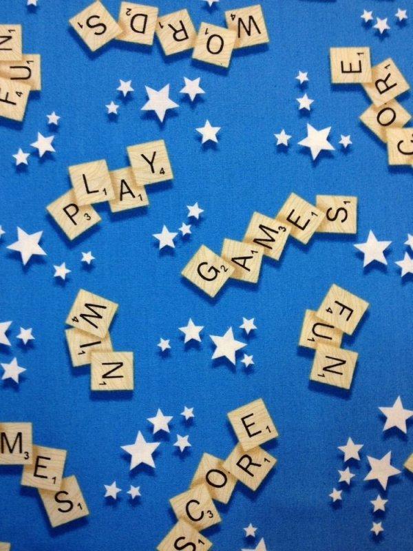 Scrabble Letter Tiles Words Games Scrabble Board Games Fun Cotton Fabric Quilt Fabric T253