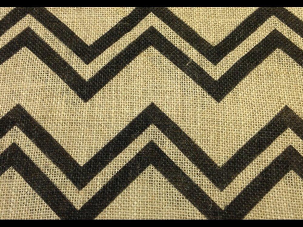 Chevron Zig Zag Country Modern Black Print Burlap Fabric SC01