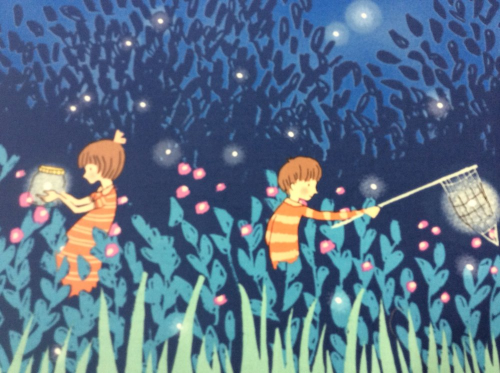 Wee Wander Sarah Jane Firefly Summer Night Lights Retro Panel Border Print Cotton Fabric Quilt Fabric MM14  PNL138