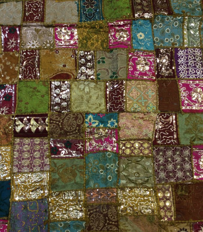 Exotic Handmade Textile From India - Olive & Wine Tones Sari Beaded Sequins Metallic Vintage - 45 x 60 Panel - Each panel is unique and colors may vary. -TC003