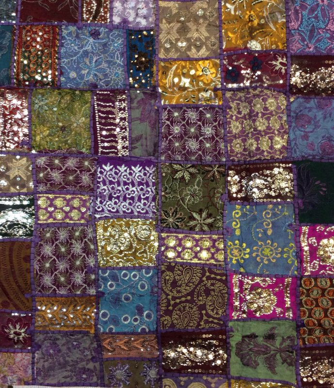 Exotic Handmade Textile From India - Purple Tones Sari Beaded Sequins Metallic Vintage - 45 x 60 Panel - Each panel is unique and colors may vary. - TC001