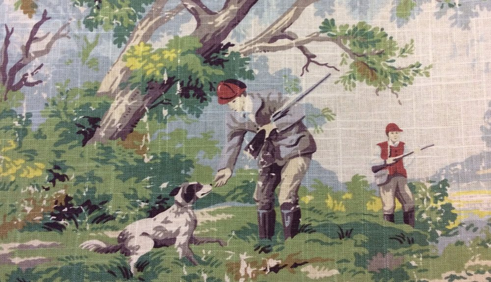 New Toile English Hunt Fishing Hunting Dog Pointer Scenic Linen  MJ01