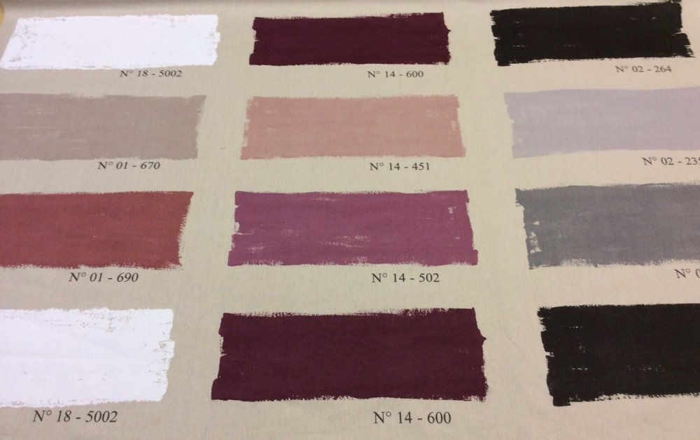 Paint Swatches France Artist Palette Eggplant Gray Silver Pink Mauve Black - Heavy Cotton Fabric Drapery Fabric  HL101