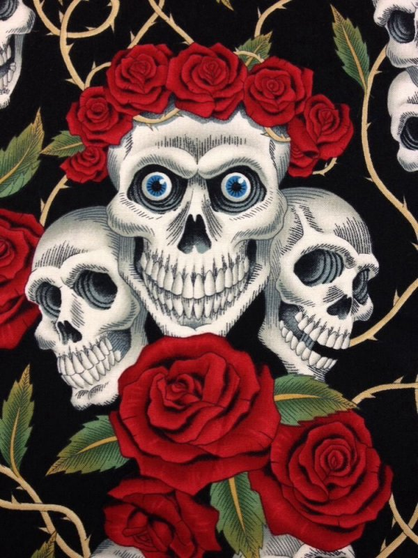 Rose Tattoo Skull Rose Biker Goth Grateful Dead Outsider Art ... : tattoo quilt fabric - Adamdwight.com