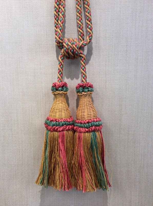 DeClercq Clarence House Cyrano Embrasse Tassel Handmade in Paris France Wicker & Cotton Double Tassel Tieback CHDC225