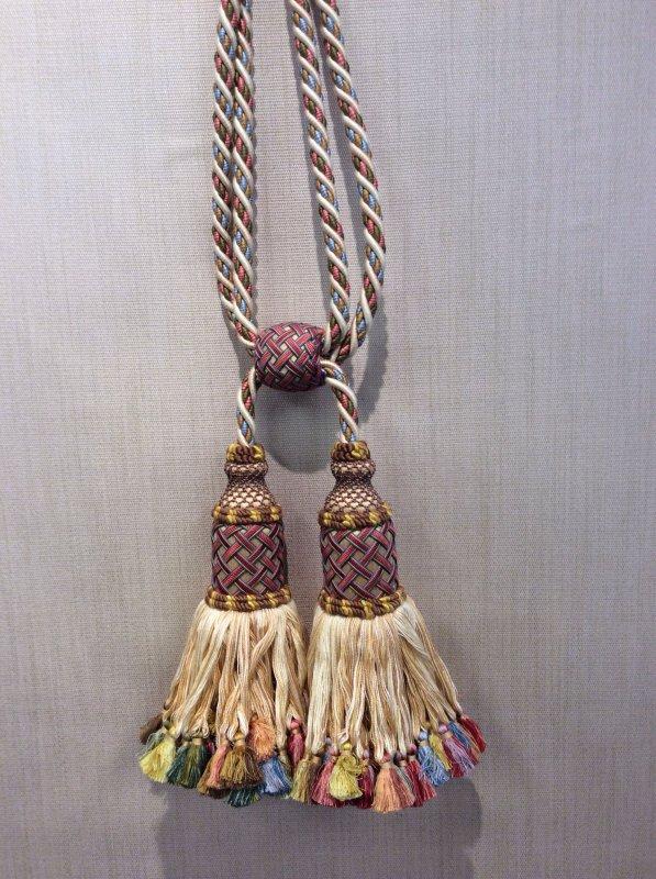 DeClercq Clarence House Aziyade Embrasse Passimenterie Tassel Handmade in Paris France Silk Double Tassel Tieback CHDC248