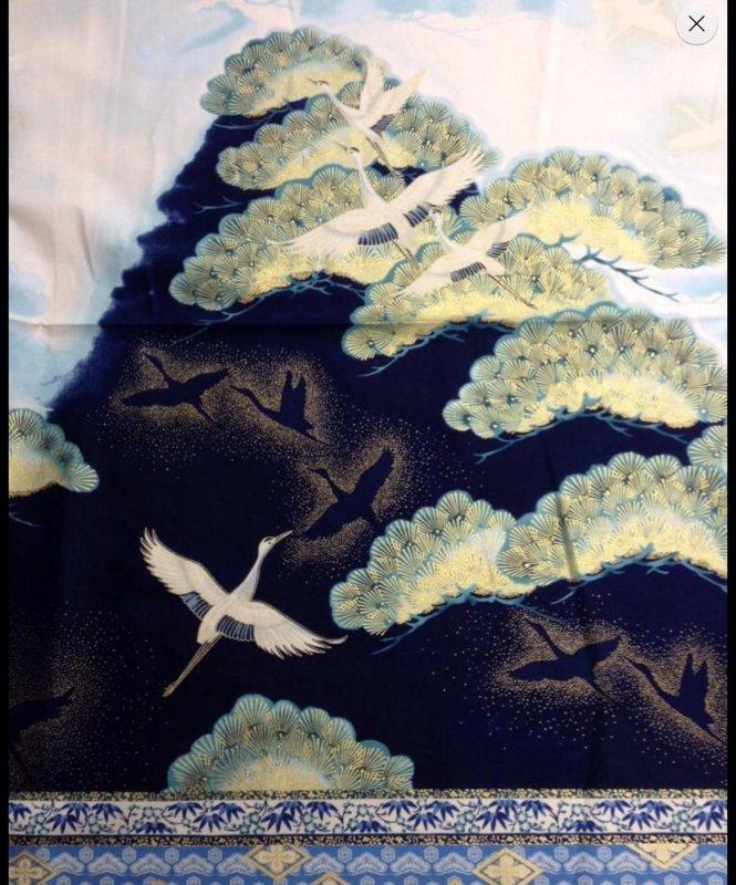 Imperial Blue Cranes Asia Japan Panel Cotton Fabric Quilt Fabric RK32