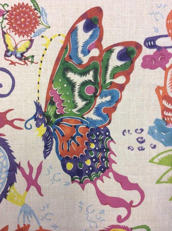 Asia Mandarin Chinese Paper Cut Watercolor Zodiac Digital Print Linen Fabric Upholstery Drapery Fabric DL600