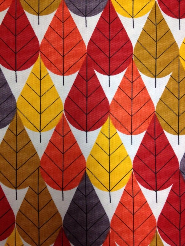 Charley Harper Canvas Octoberama Leaves Trees Mid Century Modern Charles Harper Certified Organic Cotton Fabric Heavy CANVAS Fabric CHB21