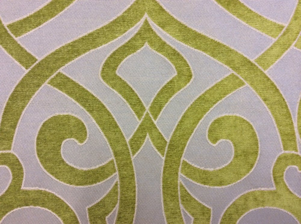 Cut Velvet High End Modern Scroll Medallion Lime & Blue Upholstery Fabric LHD314