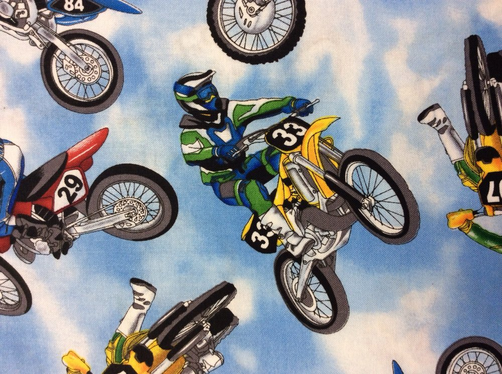 Dirt Bike Racing Blue Skies Cool Tricks Cotton Fabric Quilt Fabric TT18