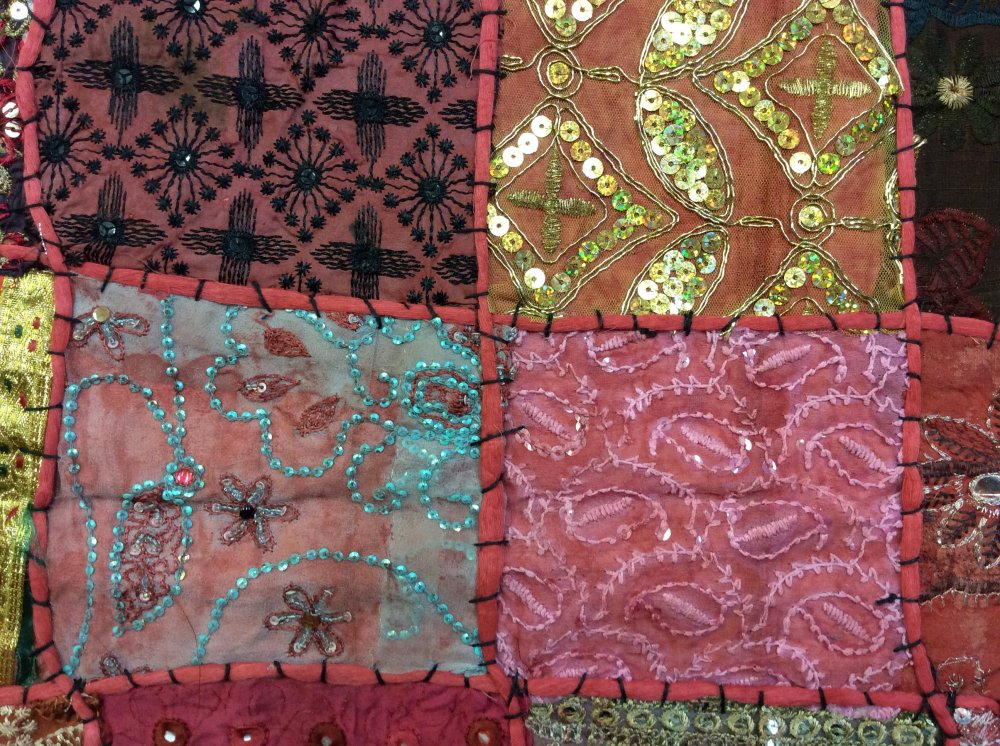 Exotic Handmade Textile From India - Red Tones Sari Beaded Sequins Metallic Vintage - 45 x 60 Panel - Each panel is unique and colors may vary. -TC08