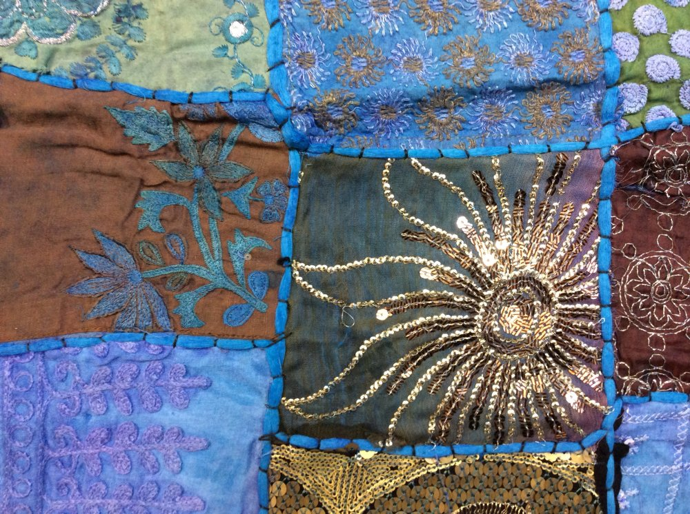 Exotic Handmade Textile From India - Turquoise Tones Sari Beaded Sequins Metallic Vintage - 45 x 60 Panel - Each panel is unique and colors may vary. - TC10