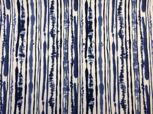 Z OR106 Stripe Tie Dye Navy Bright Blue On White Home Dec Fabric - 106