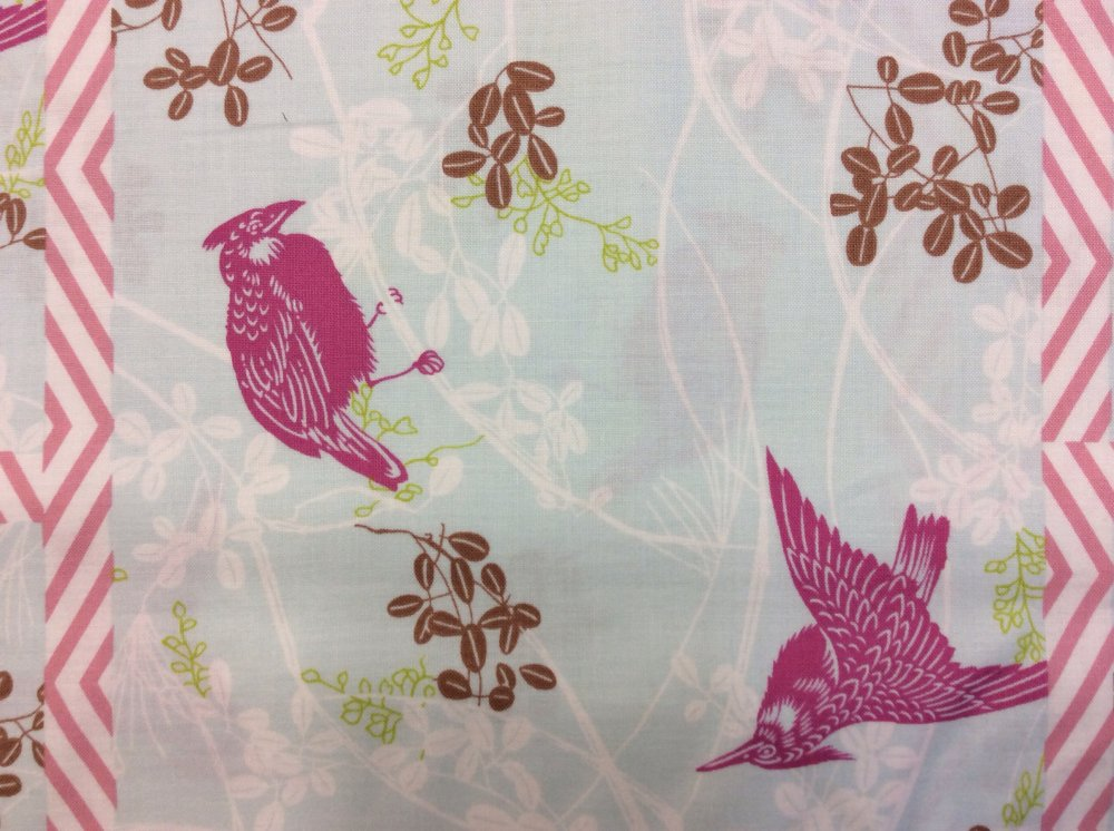 Birds on Branches Paper Cut Style Print Dolce Cotton Quilt Fabric P67