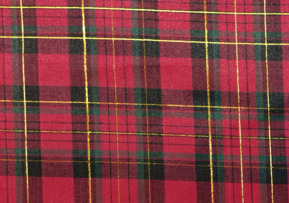 christmas holiday plaid red and black green reversible tree skirt cotton quilting fabric ft15 - Christmas Plaid Fabric