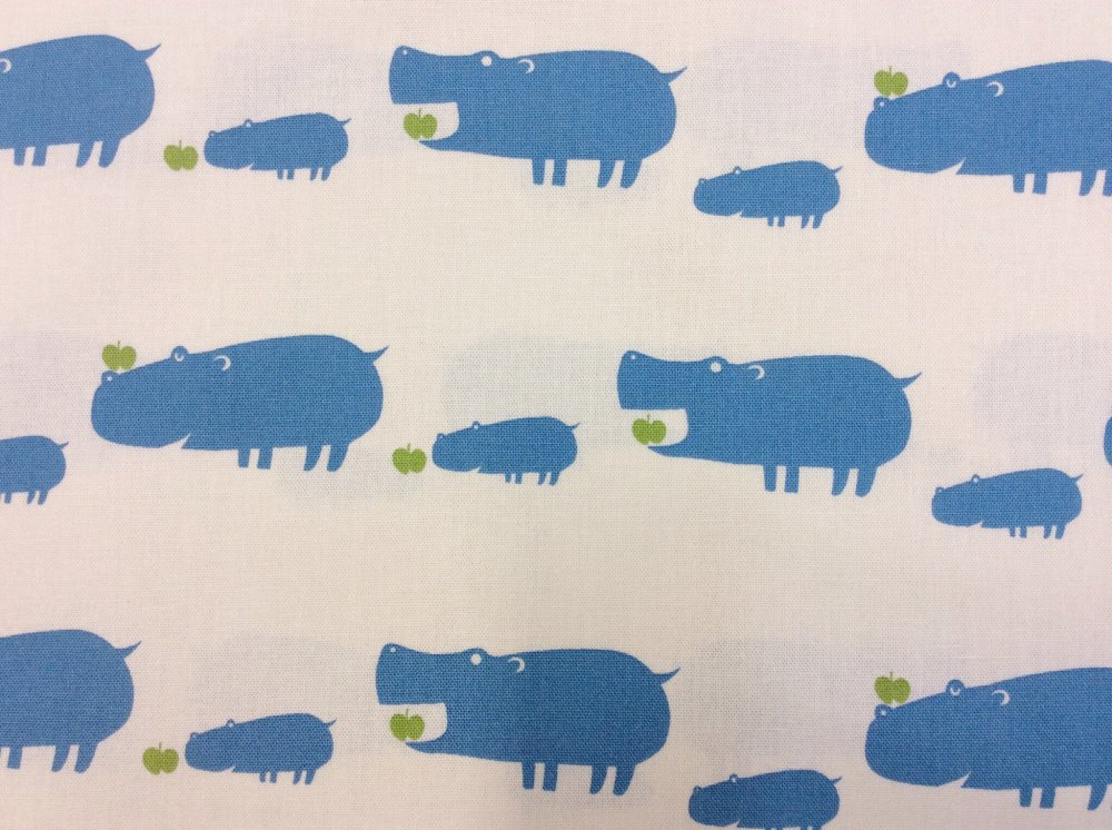 Happy Blue Hippos Apples Baby Cute Echino Kokka Japan Canvas Cotton Fabric SI01