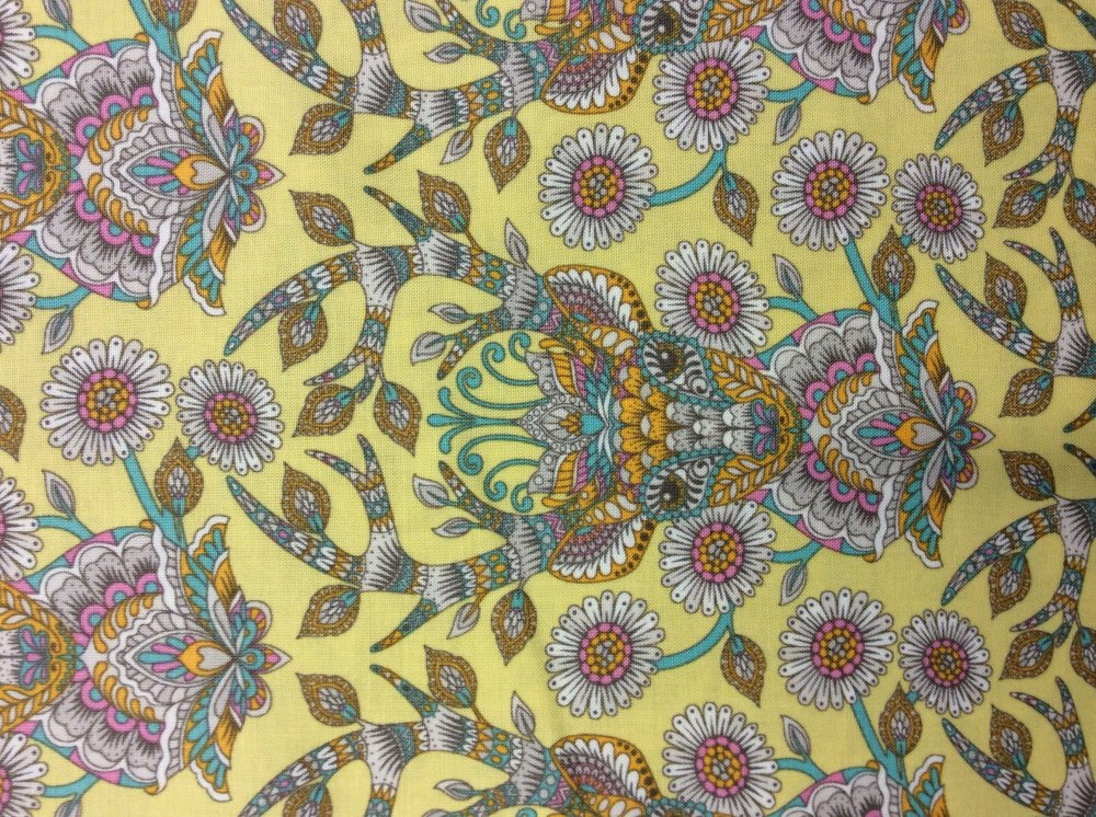 Tula Pink Floral Deer Antlers Daisies Yellow Cotton Fabric Quilt Fabric FS13