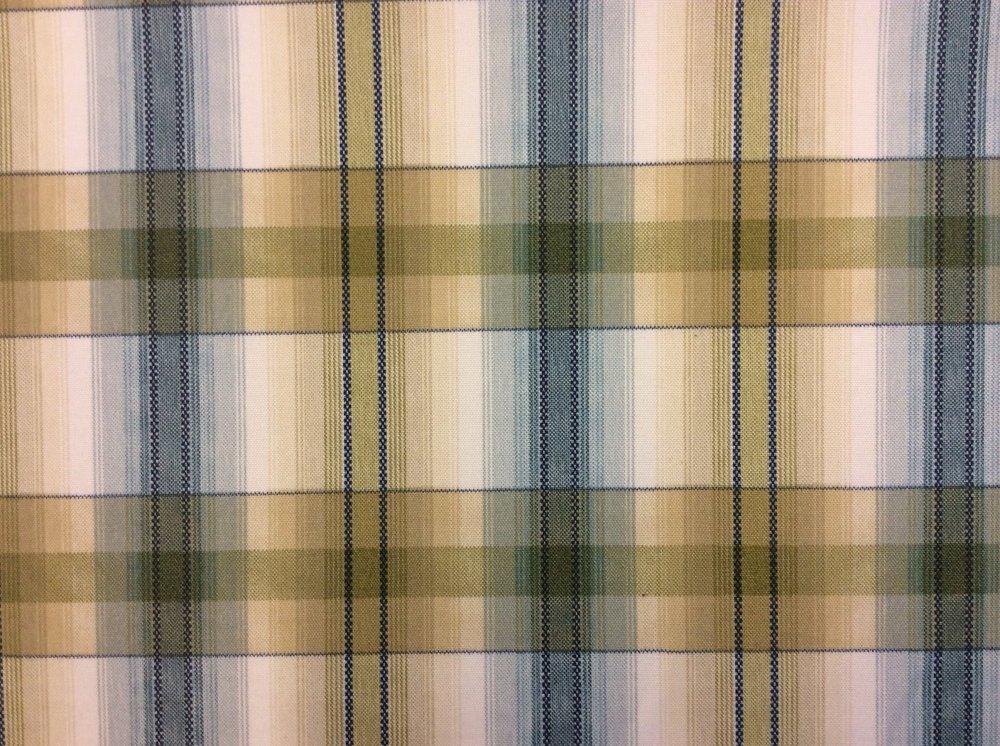 Plaid Blue Green/Brown Plaid Outdoor Sun Safe Home Dec Fabric SRI004 CLOSEOUT