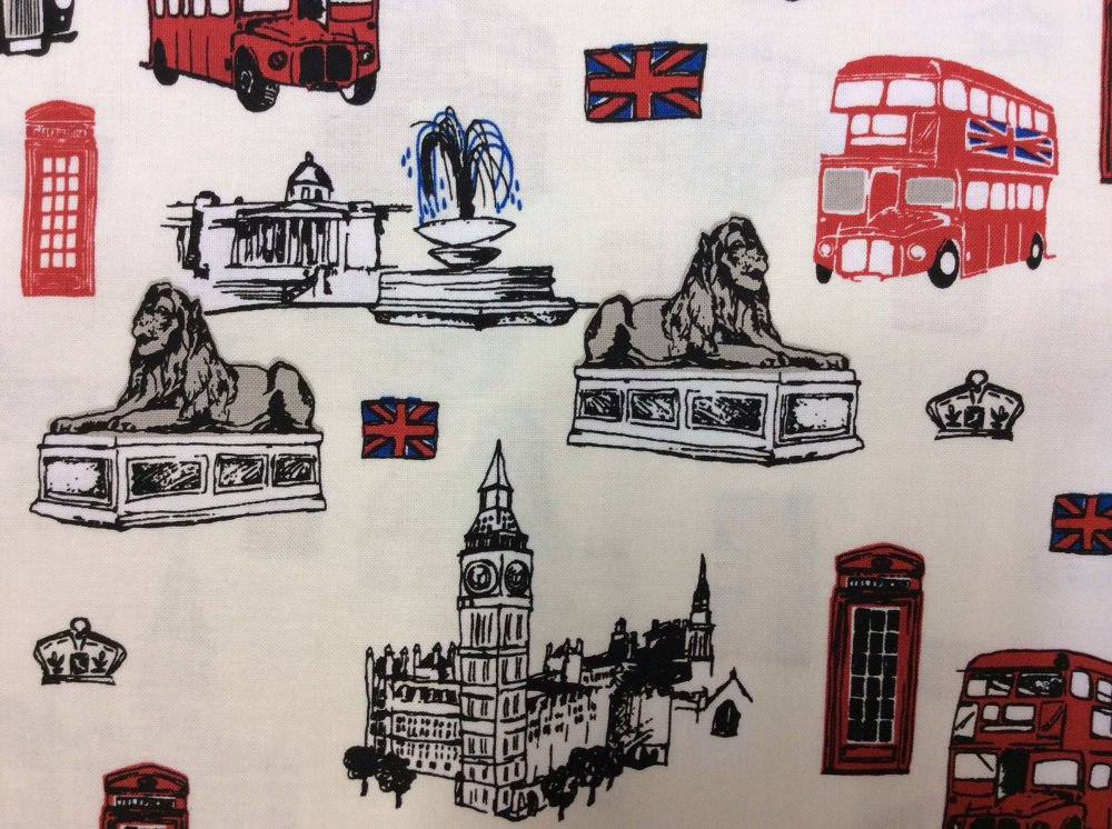British Tour Big Ben Telephone Box Double Bus Cotton Fabric Quilt Fabric RB29