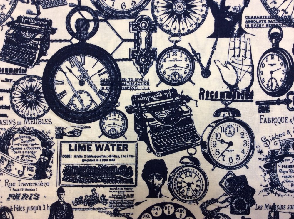 Vintage Technology Clocks Type Writers Machines Cotton Fabric Quilt Fabric RB30