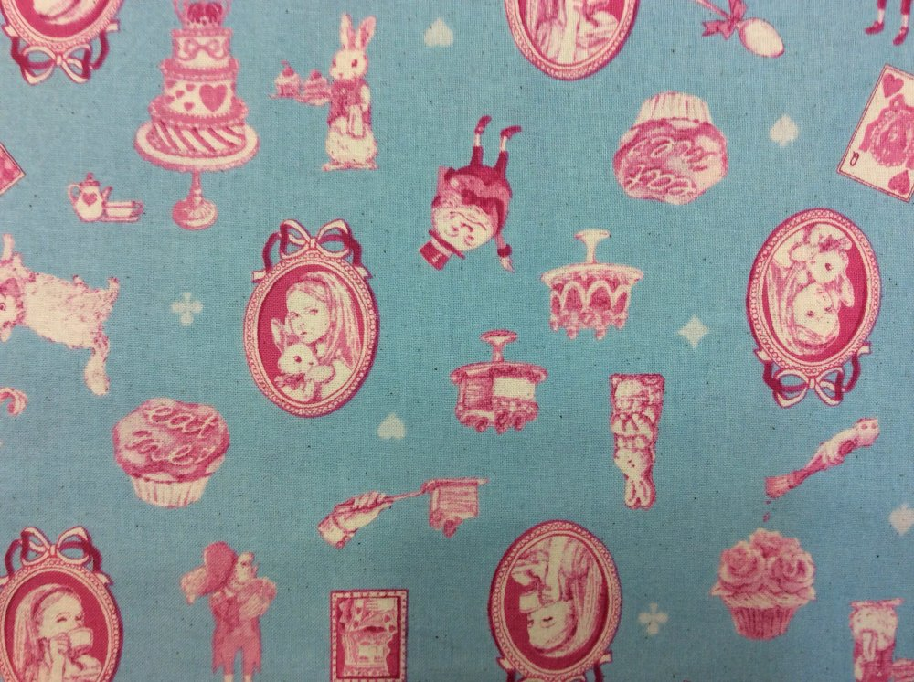 Alice In Wonderland White Rabbit Tea Cakes Childhood Heavy Weight Linen Blend Quilt Fabric GT07